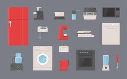 Установленные кухонные приборы Холодильник, стиральная машина, чайник, blender, тостер, электрический гриль, машина кофе, распаро Стоковые Изображения