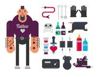 Установленные мастер татуировки и татуируя значки вектора инструментов работы плоские Стоковое фото RF