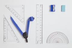 Установленные математики школы лежать плоско Стоковые Фотографии RF