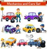 Установленные механики и автомобили иллюстрация штока