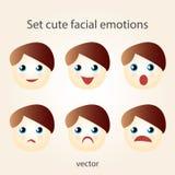 Установленные милые лицевые эмоции Стоковые Фотографии RF