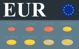 Установленные монетки евро Равновеликая иллюстрация дизайна Стоковые Фото