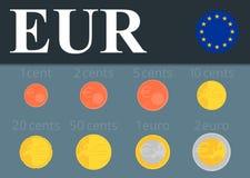 Установленные монетки евро также вектор иллюстрации притяжки corel Стоковое фото RF
