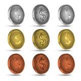установленные монетки Монетки золота, серебра и бондаря Стоковое Изображение