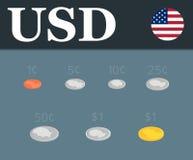 Установленные монетки доллара Равновеликая иллюстрация дизайна Стоковое Изображение