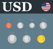 Установленные монетки доллара также вектор иллюстрации притяжки corel Стоковые Изображения RF