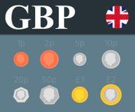 Установленные монетки фунта стерлинга также вектор иллюстрации притяжки corel Стоковая Фотография RF