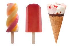 Установленные мороженое и замороженные lollies льда Стоковые Изображения