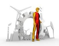 Установленные молодой человек и промышленные равновеликие значки Стоковые Изображения RF