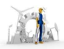 Установленные молодой человек и промышленные равновеликие значки Стоковая Фотография RF