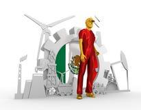 Установленные молодой человек и промышленные равновеликие значки Стоковое Фото