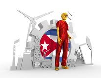 Установленные молодой человек и промышленные равновеликие значки Стоковое Изображение RF