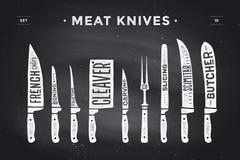 Установленные ножи для разрезания мяса Диаграмма и схема мясника плаката иллюстрация штока
