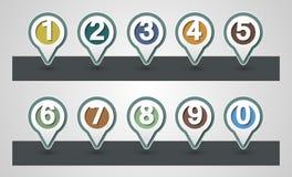 установленные номера Штыри отображения дизайна иллюстрация вектора