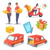 Установленные объекты концепции поставки шаржа Быстрые фургон и самокат поставки Работник доставляющий покупки на дом также векто Стоковое фото RF