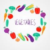 Установленные овощи натуральных продуктов вектора красочные Стоковые Изображения