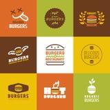 Установленные логотипы и значки вектора ресторана фаст-фуда Стоковое Изображение RF