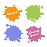Установленные логотипы югурта плодоовощ Вишня и персик клубники еды молочного продукта Стоковые Фотографии RF