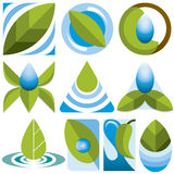 Установленные логотипы Eco вектора Стоковые Изображения