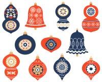 установленные орнаменты рождества самомоднейшие Бесплатная Иллюстрация