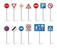 Установленные дорожные знаки изолированными на белой предпосылке Стоковая Фотография