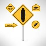 Установленные дорожные знаки доски серфинга вектор Стоковая Фотография RF