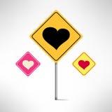 Установленные дорожные знаки сердца Предупреждение влюбленности вектор Стоковые Изображения RF