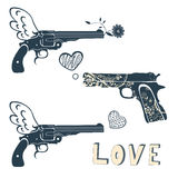 Установленные оружи влюбленности Винтажные эмблемы при оружие снимая a Стоковое Изображение