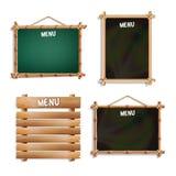 Установленные доски меню белизна изолированная предпосылкой Реалистическая пустая черная и зеленая доска шильдика с деревянной см иллюстрация вектора