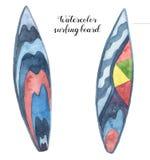 Установленные доски серфинга акварели Рука покрасила стол дизайна для водных видов спорта изолированных на белой предпосылке Кани бесплатная иллюстрация