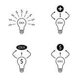 Установленные доллар идеи шарика и добавочные значки знака Стоковые Фотографии RF