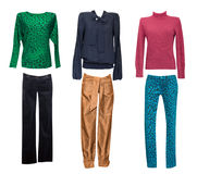 Установленные одежды моды женские Женщина одевает изолированный коллаж Стоковые Изображения