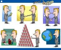 Установленные персонажи из мультфильма бизнесменов иллюстрация штока