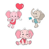 Установленные персонажи из мультфильма слона младенца Стоковое фото RF