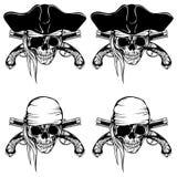 Установленные пистолеты черепа пирата иллюстрация штока