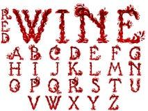 Установленные письма красного вина иллюстрация вектора