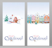 Установленные поздравительные открытки ландшафта зимы и рождества городского пейзажа Стоковые Изображения RF