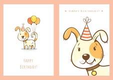 Установленные поздравительые открытки ко дню рождения Стоковые Изображения