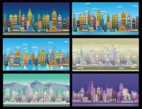 Установленные предпосылки игры города С ретро автомобилями, 2d применение игры Стоковое Изображение RF