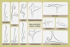 Установленные представления йоги балансируя Стоковое Изображение