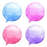 Установленные пузыри речи акварели вычерченные женщины иллюстрации s руки стороны Социальные значки средств массовой информации бесплатная иллюстрация