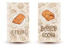 Установленные плакаты хлеба эскиза вектора нарисованные рукой Еда Eco Иллюстрация эскиза Элементы дизайна в стиле эскиза для конд Стоковые Фото