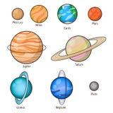 Установленные планеты солнечной системы Стоковые Фото