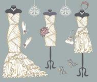 Установленные платья свадьбы дерева белые Стоковые Изображения RF