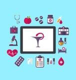 Установленные плоские значки медицины и химической лаборатории объектов, conc иллюстрация вектора