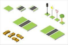 Установленные равновеликие автомобили дороги и вектора, общее дорожное движение регулирующее Иллюстрация eps 10 вектора изолирова Стоковое Изображение
