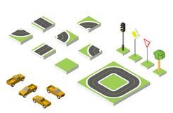Установленные равновеликие автомобили дороги и вектора, общее дорожное движение регулирующее Иллюстрация eps 10 вектора на белизн Стоковое Фото