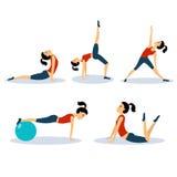 Установленные разминки женщин фитнеса резюмируйте вектор экрана цветов кнопки предпосылки голубой лоснистой изолированный иллюстр Стоковые Фотографии RF
