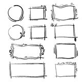 Установленные рамки нарисованные рукой Квадрат вектора шаржа и круглые границы Формы влияния карандаша стоковая фотография rf