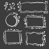 Установленные рамки нарисованные рукой Квадрат вектора шаржа и круглые границы Формы влияния карандаша Стоковые Фотографии RF